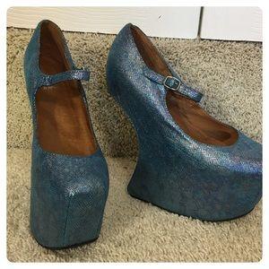 Jeffrey Campbell Blue Night Walk Leather Heels